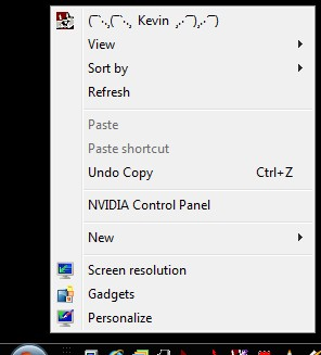 The Windows 7 right mouse click menu can be customized with shortcuts and icons.